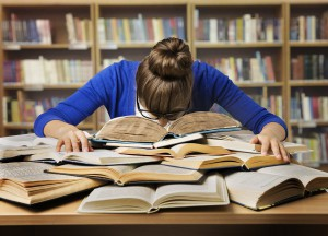 Student Studying Sleeping on Books, Tired Girl Read Book, Library