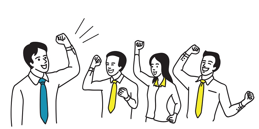 Vector character of businessman as leader, motivate teamwork by holding fist and raising hand in successful gesture. Outline, linear, thin line art, cartoon, hand draw sketch design, simple style.