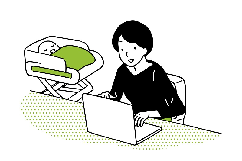Housewife operating a personal computer.