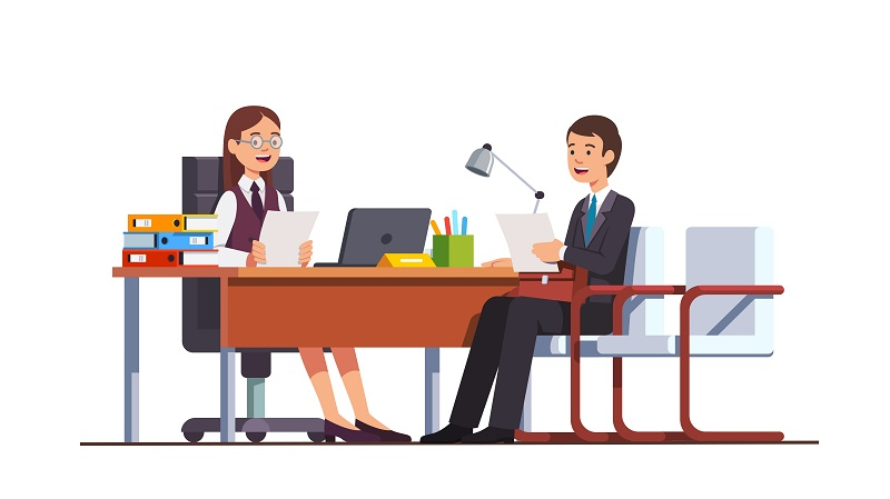 Employee having job position evaluation interview  meeting with boss woman holding CV or HR manager in director office. Flat isolated vector